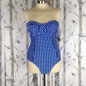 Lauren James One-Piece Gingham Bandeau Swimsuit